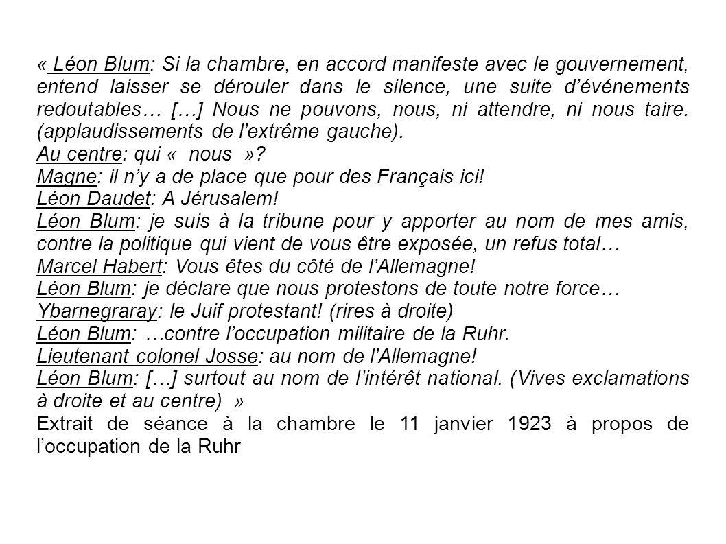 « Léon Blum: Si la chambre, en accord manifeste avec le gouvernement, entend laisser se dérouler dans le silence, une suite d'événements redoutables… […] Nous ne pouvons, nous, ni attendre, ni nous taire. (applaudissements de l'extrême gauche).